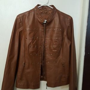 Live a Little brown leather sport jacket